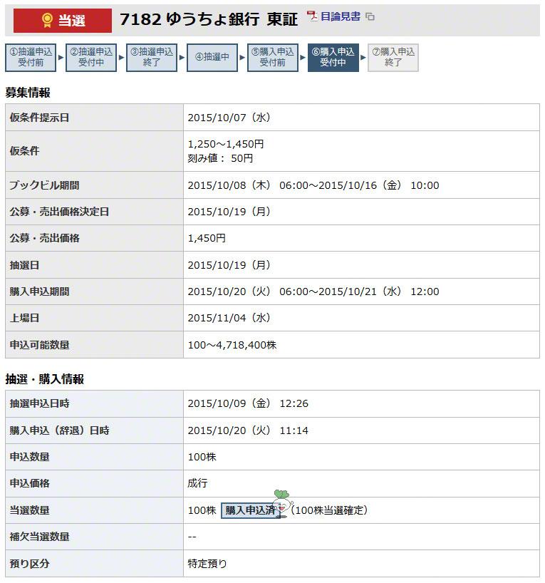 ゆうちょ銀行に東海東京証券で当選